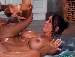 Natural tits MILF Reagan Foxx oiled back and fucked doggystyle