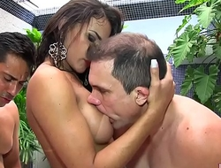 Three Guys Fuck Sultry Shemale Erica Lee in the Ass and Mouth